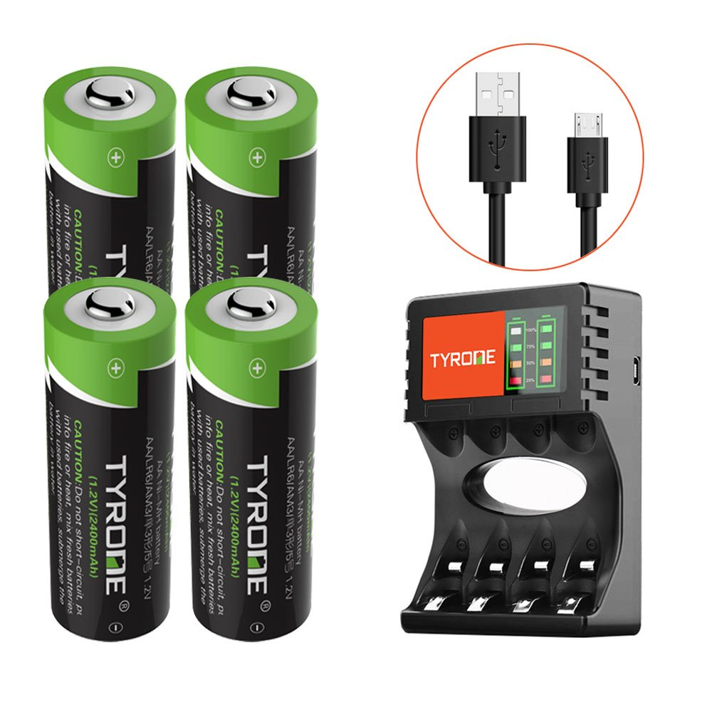 AA Rechargeable Batteries with Charger [ USB Port Set ][ High-Capacity ][ 4-Pack 2400mAh ][ Nickel Metal Hydride/Ni-MH ]