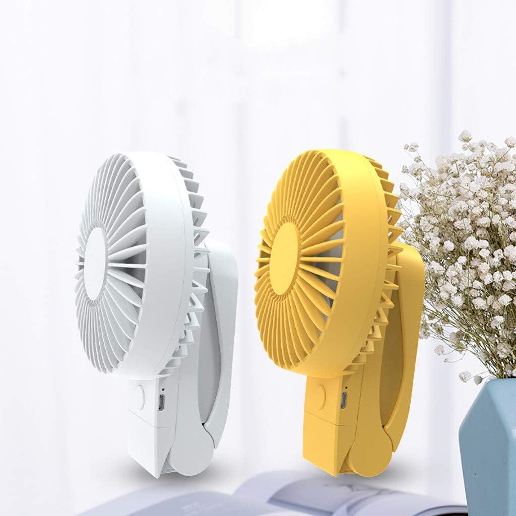 USB Clip Fan Rechargeable Table Fans for Home Office Bedroom Yellow 360/° Rotation 4 Wind Speed Mini Cooling Fan 3-in-1 Handheld Clip Fan Portable USB Desk Fan