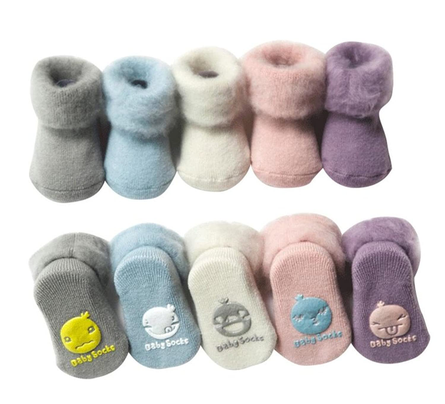 Unisex Baby Thick Thermal Snow Socks 5 Pairs Non-skid Floor Sock for Newborn Toddlers
