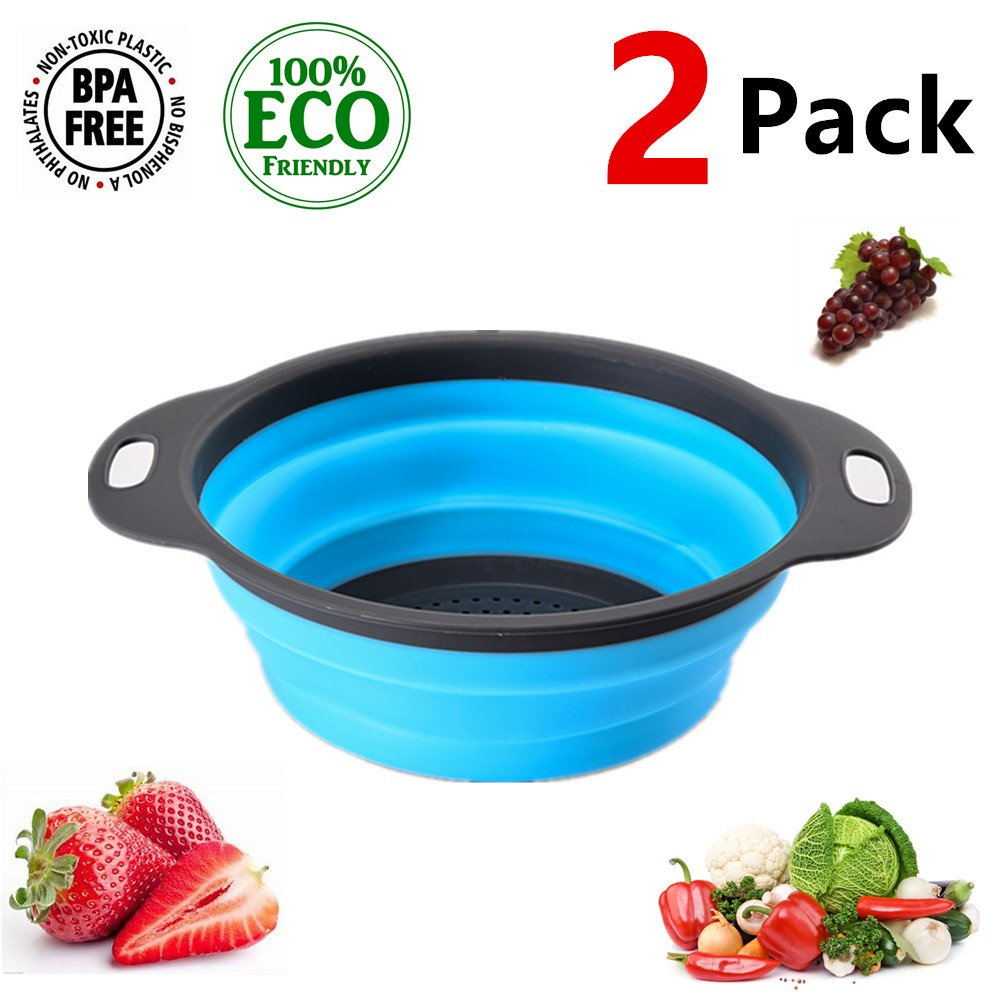 collapsible colander set bpa free 11.6in large,colander set - 2 collapsible of camping outdoor home,Silicone material, safety and health, convenient for cleaning vegetables and fruits(Blue)