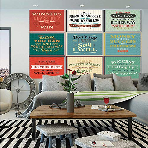 SoSung Quotes Decor Removable Wall Mural,Collection of Uplifting Messages Quotes Life Wisdom Art Success Themed Artwork,Self-Adhesive Large Wallpaper for Home Decor 66x96 inches,Red Green Beige