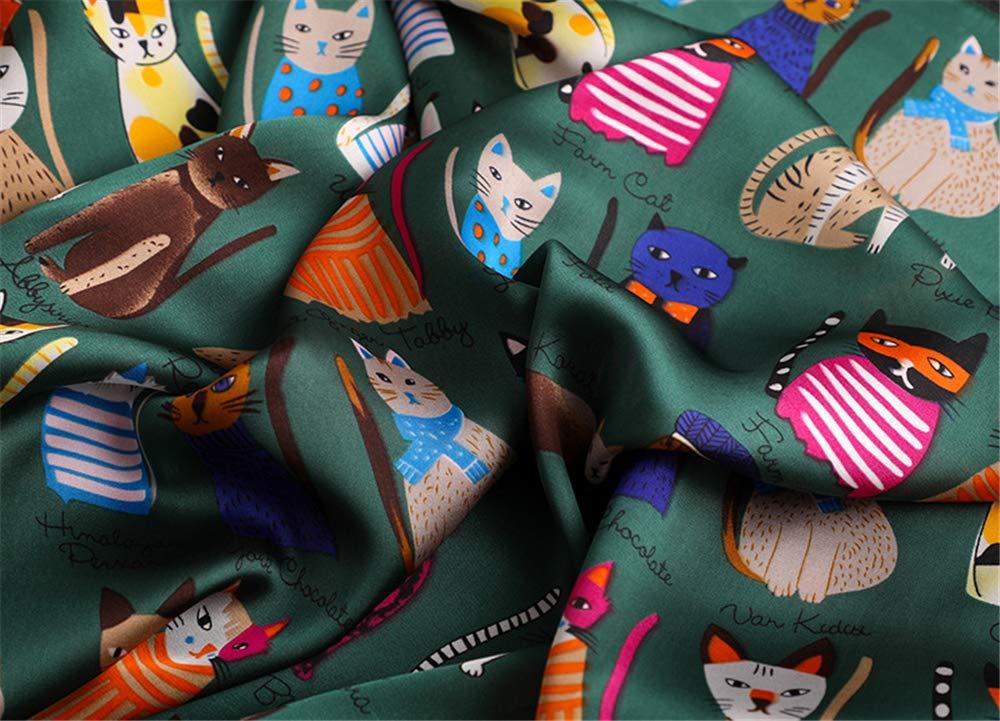 Frauen Fashion Square Schal Katzen-Druck Seidenschals und Verpackungs-Damen Retro Fr/ühlings-Sommer-B/ürostuhl Hals Foulard,A