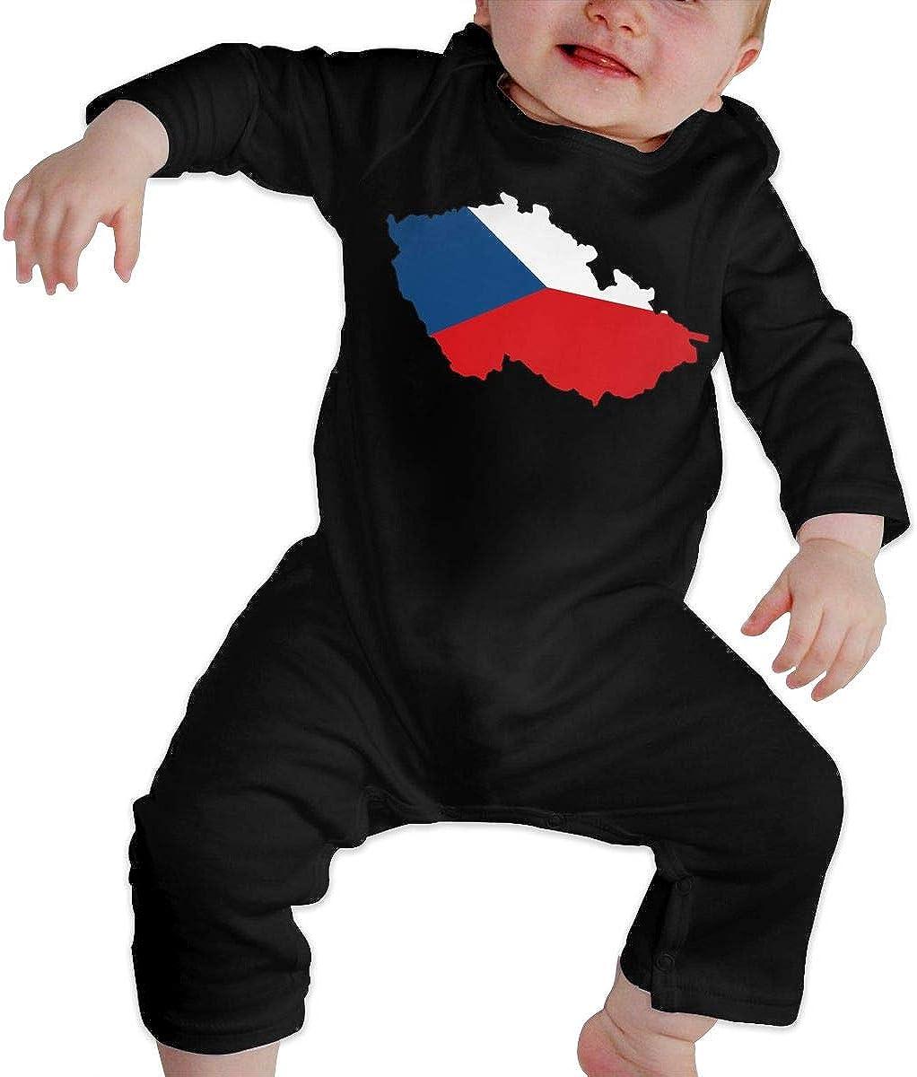 YELTY6F Czech Republic Flag Map Printed Boys Girls Jumpsuit Long Sleeve Romper Black