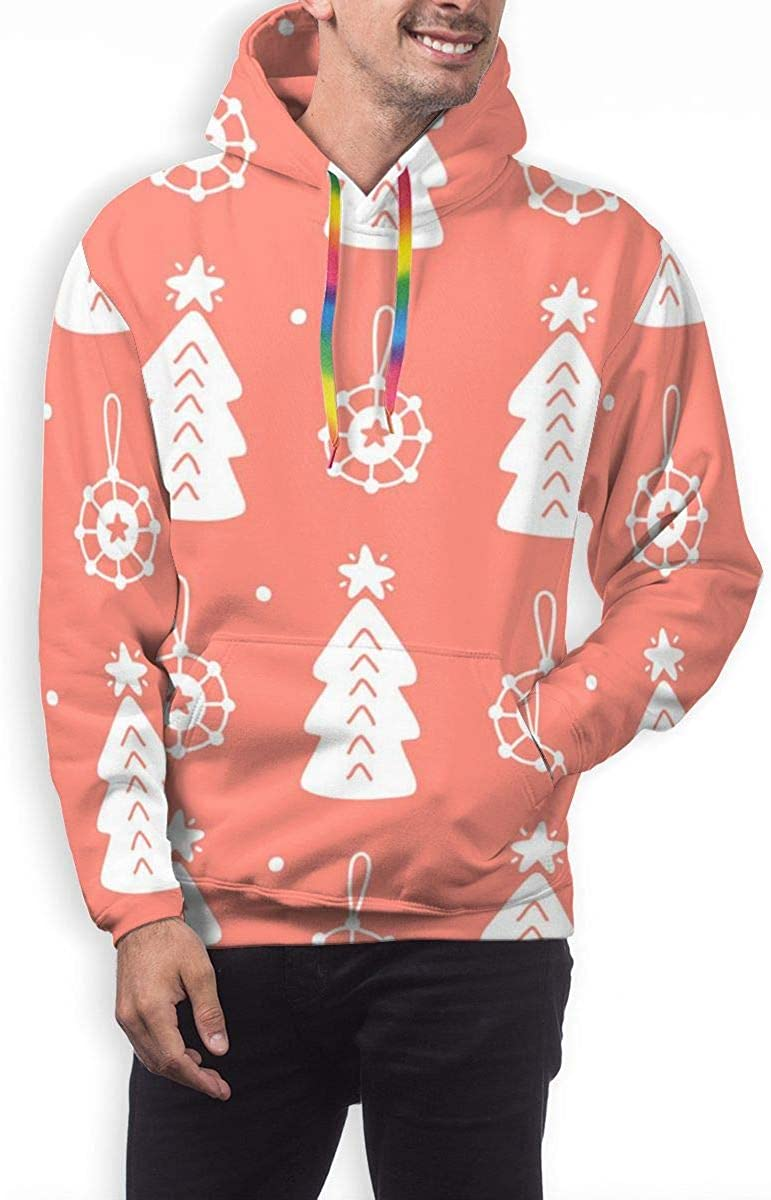 Christmas Forest Doodles Pattern Pullover Hooded Sweatshirts for Boys Mens Funny Cool Outwear