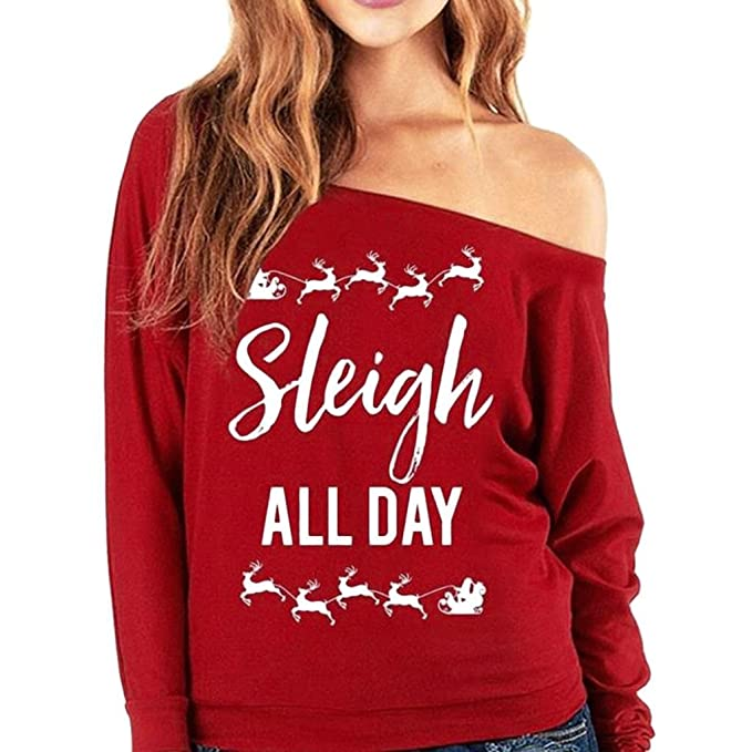 Koly Mujeres sueltan Tops manga larga La camiseta de la blusa ocasional Navidad Carta Camisa de entrenamiento Impreso Pullover Tops Blusas mujer tallas ...