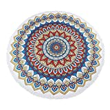 Round Beach Blanket Extra Large Mandala Tapestry Circle Towel for The Pool | Oversized Round Indian Towels for Yoga l 60 Inch Circular Throw for Adults or Kids Beach Picnic Blanket - Brown
