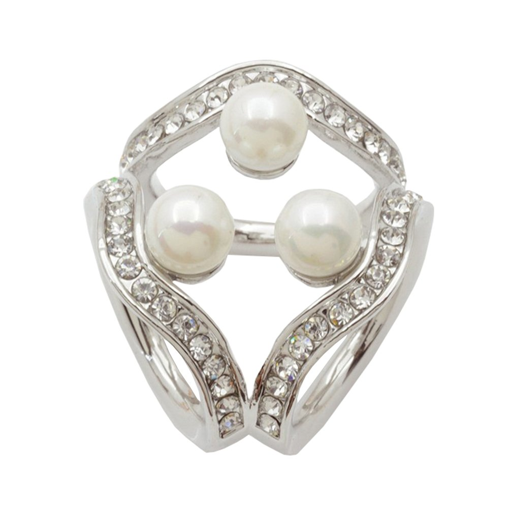 Aisence® Scarf Clips Women's Elegant Three Ring Scarf Buckle Fashionable Scarves Ring Shiny Accessory Fashionable Jewelry Gift Pearl Rhinestone Scarf Ring Crystal Pearl Scarf Ring