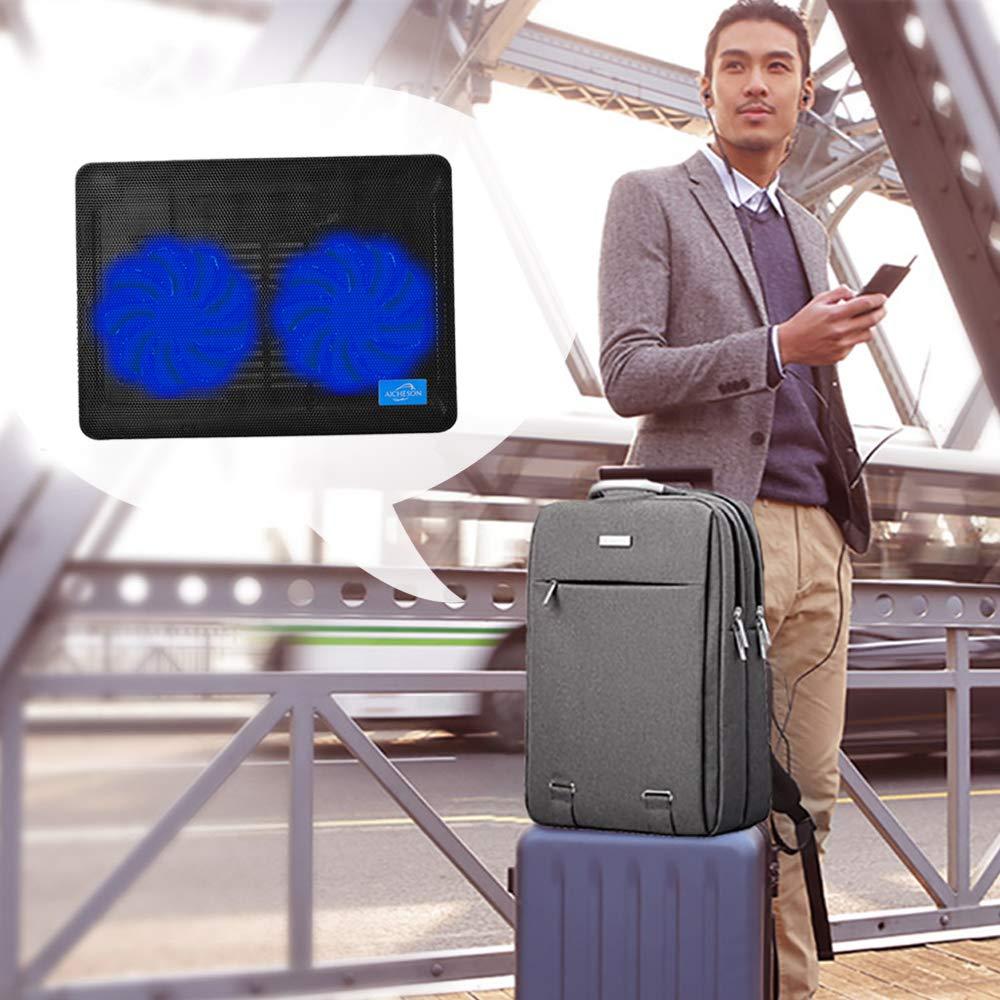 AICHESON Laptop Cooling Pad 2 1000RPM Fans Portable Computer Cooler Blue LEDs S007