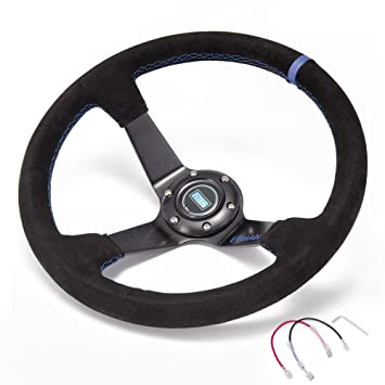 STR 13 Rally//Drift//Race Steering Wheel Black//White//Blue//Red//Green//Silver//Gold 2 or 3 Dish Silver, 3