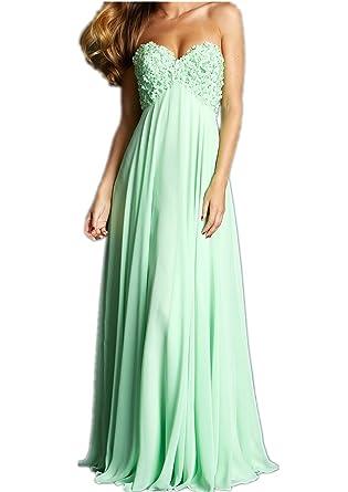 YAXIU Womens Sweetheart Elegant Sexy Green A-Line Long Chiffon Evening Dresses Cocktail Ball Gowns