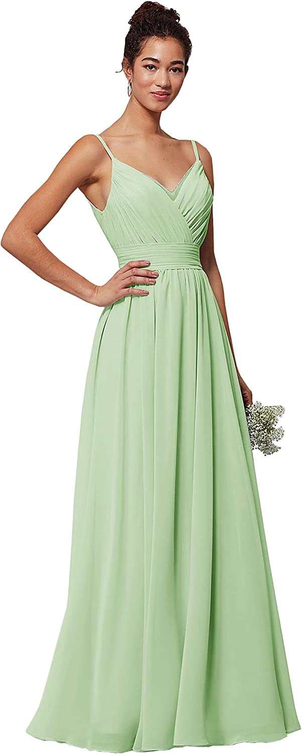Lianai Womens V-Neck Ruched Bodice Long Bridesmaid Dress A-line Wedding Party Dress