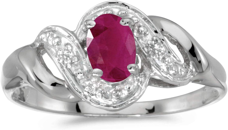 FB Jewels 10k White Gold Genuine Birthstone Solitaire Oval Gemstone And Diamond Swirl Wedding Engagement Statement Ring