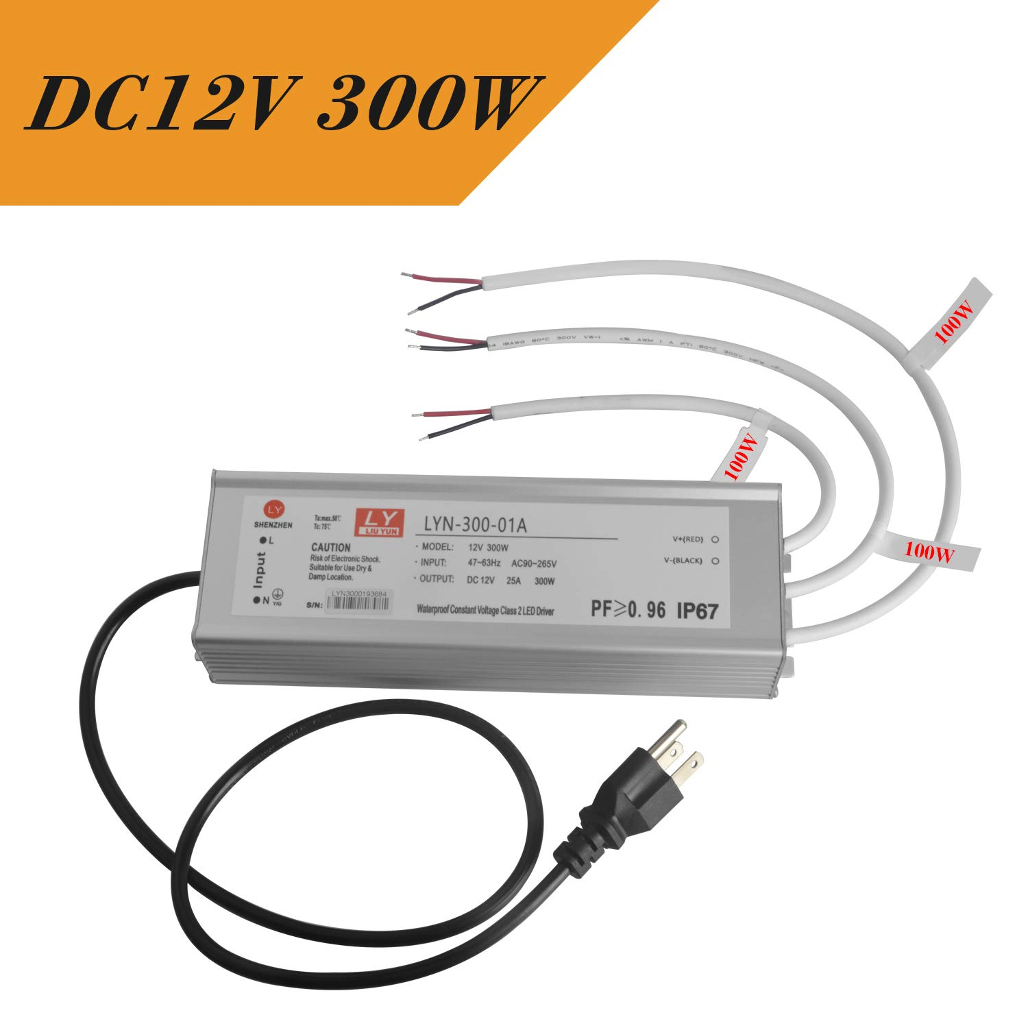 LED Driver 300W (100Wx3)25A, Waterproof IP67 Switching Power Supply,12V DC LED Transformer, Safe and Stable,Low Voltage Power Supply for LED Strip Lights LED Module and CCTV Power Accessories