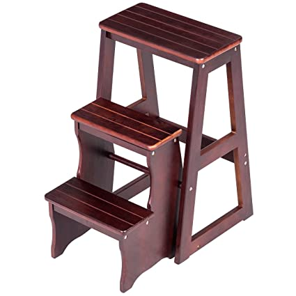 Pleasing Step Stool 3 Tier Ladder Chair Bench Seat Folding Utility Home Kitchen Wood Best Image Libraries Thycampuscom