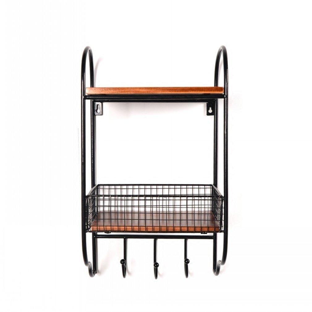YCT ヴィンテージの古い錬鉄製の棚の浴室の壁の収納棚の家の仕上げの棚。棚 (Color : ブラック) B07RMJ653B ブラック
