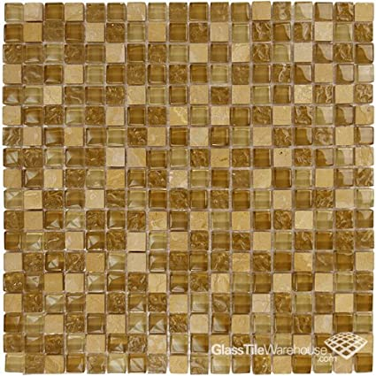 Brown Textured Glass Tile Stone Tile Blend 5 8 X 5 8 For Pool