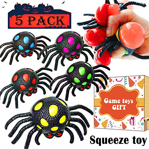 Price comparison product image 5 Pack Halloween Blood Spider 2.5'' Mesh Stress Ball Relief Toys Anti Anxiety Squeeze Ball for Kids Adults Stress Sensory Fidget Toys Autism Hand Exercise Halloween Party Favors Decor Pretend Toys
