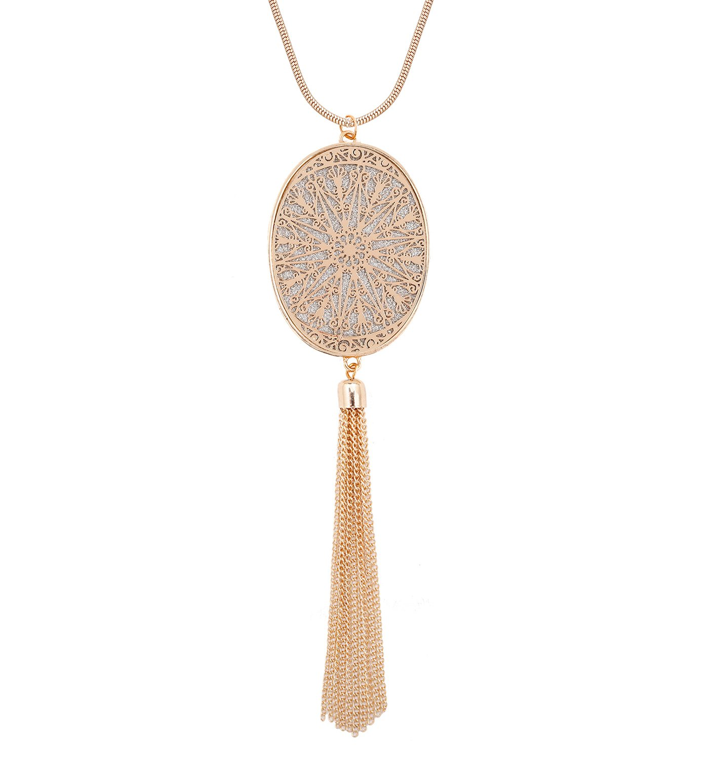 Long Necklaces for Women Disk Oval Pendant Necklace Bohemia Tassel Necklace Set Fashion Y Necklaces Statement Jewelry (Oval-Gold)