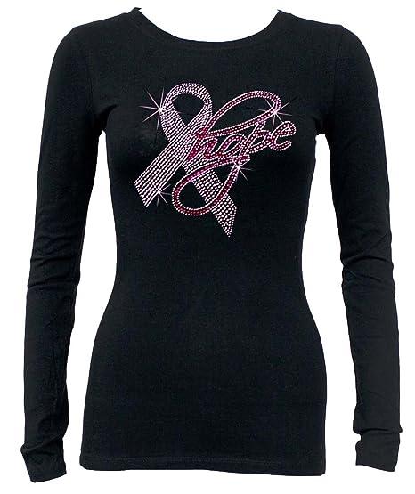 ef5d56b2564 Interstate Apparel Inc Hope Rhinestone Pink Ribbon Long Sleeves T-Shirt  S-3XL Juniors