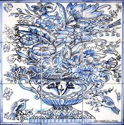 Decorative Ceramic Tiles: Hand Painted Mosaic Murals Kitchen Bathroom Pool Patio Wall Art 18 Inch x 18 Inch