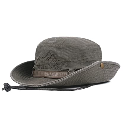 e5637e97c King Star Men Summer Cotton Cowboy Sun Hat Wide Brim Bucket Fishing Hats  Army Green 1  Amazon.in  Toys   Games