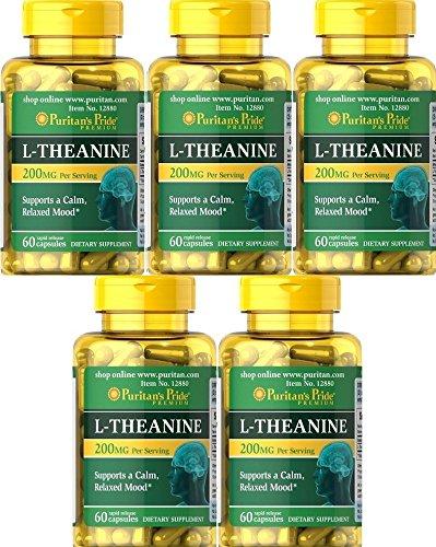 5 L-Theanina L-Teanina 200 mg 60 caps, ansiedad y menopausia