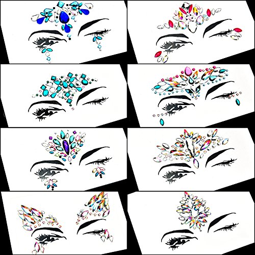 TOODOO 8 Sets Face Gems Rhinestone Colorful Sticker Tattoo Jewelry Stick on Face Festival Jewels for Forehead Body Decorations (Style 1) by TOODOO (Image #1)