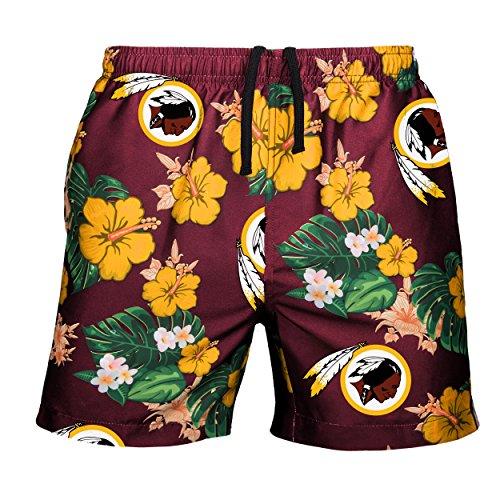 NFL Washington Redskins Mens Team Logo Floral Hawaiin Swim Suit Trunksteam Logo Floral Hawaiin Swim Suit Trunks, Team Color, XX-Large (36