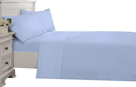 Luxury Quality 1 pc Fitted Sheet Egyptian Cotton King Size Sky Blue Stripe