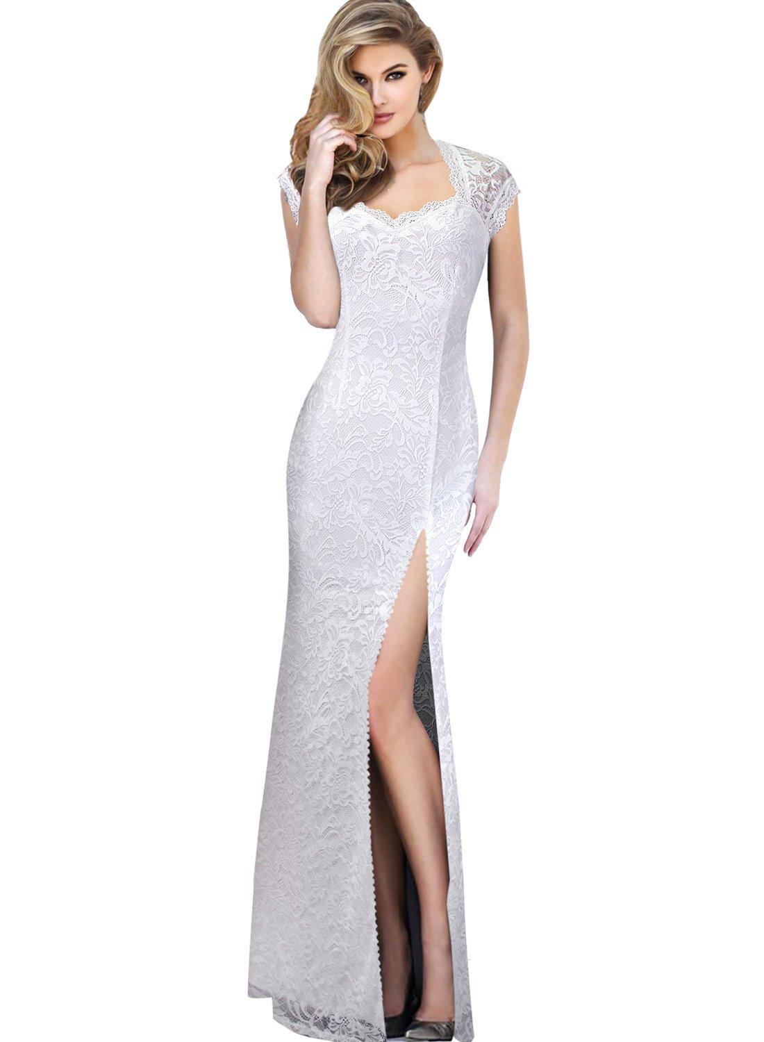 VFSHOW Womens Sexy Elegant Floral Lace Formal Wedding Prom Party Maxi Dress 745 WHT S