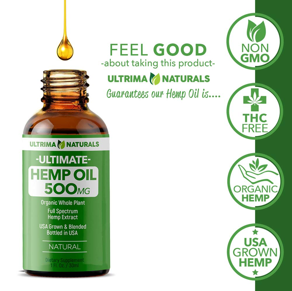 ULTRIMA 500mg Hemp Tincture Oil Drops - 30ml (1oz.) - Natural