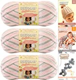 Bernat Softee Baby Yarn 3-Pack Pink Flannel Bundle Includes 3 Patterns Pink Gray White