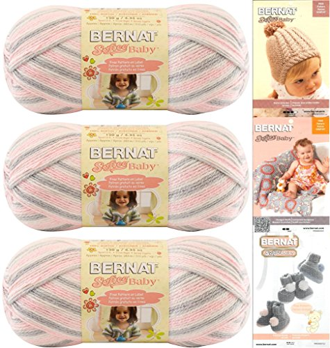 Bernat Softee Baby Yarn 3-Pack Pink Flannel Bundle Includes 3 Patterns Pink Gray White by Bernat (Image #3)