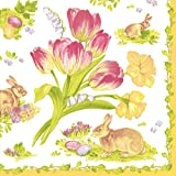 Caspari Entertaining with Cocktail Napkin, Easter Bouquet Yellow, Box of 40
