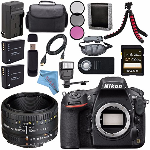 Nikon D810 DSLR Camera 1542 + Nikon AF NIKKOR 50mm Lens + 52mm 3 Piece Filter Kit + EN-EL15 Lithium Ion Battery + External Rapid Charger + Sony 128GB SDXC Card + Universal Slave Flash unit Bundle