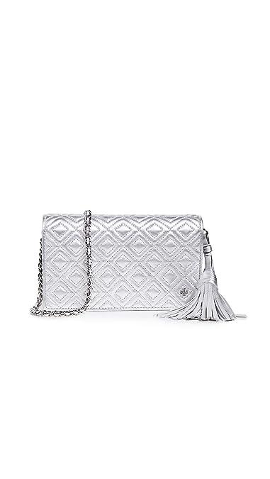 0d598ac172d Tory Burch Women s Fleming Metallic Flat Wallet Crossbody Bag ...