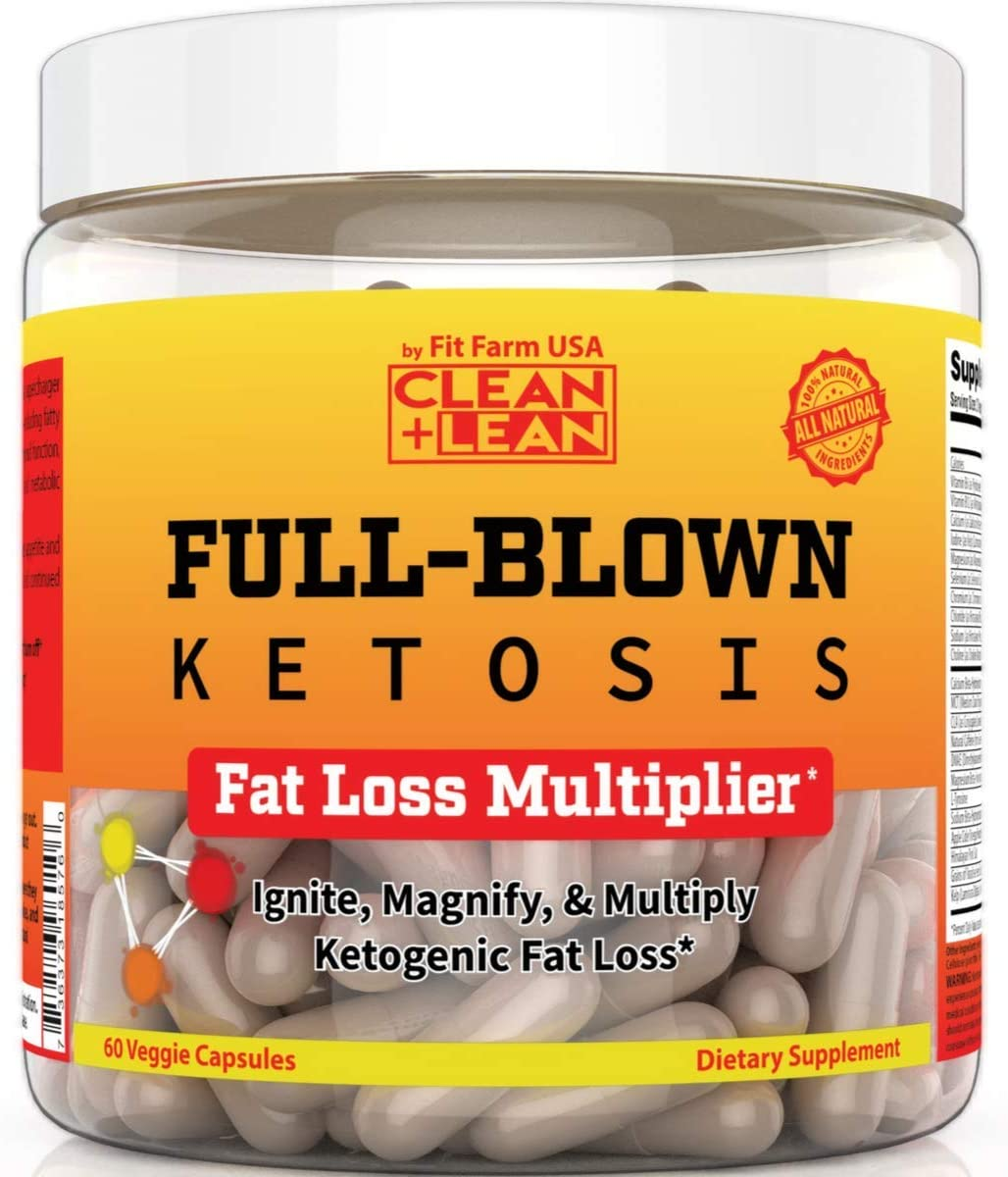 Clean Lean Full-Blown KETOSIS First Ever Ketogenic Fat Loss Multiplier BHB Ketones MCT Oil CLA Apple Cider Vinegar DMAE Thyroid Boosters Immune Support All-in-on Diet Accelerator