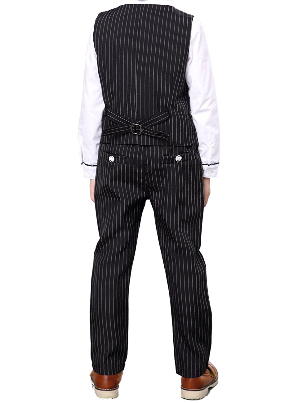 Shirt 3 Pieces Black /& Blue 2 Colors Pants YUFAN Boys Pinstripe Vest Set Vest