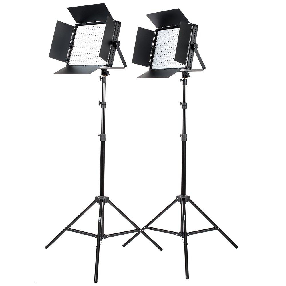 Fovitec StudioPRO - 2x Daylight 1200 LED Panel Bundle w/ Barndoors & Stands - [Continuous][Adjustable Lighting][V-Lock Compatible]