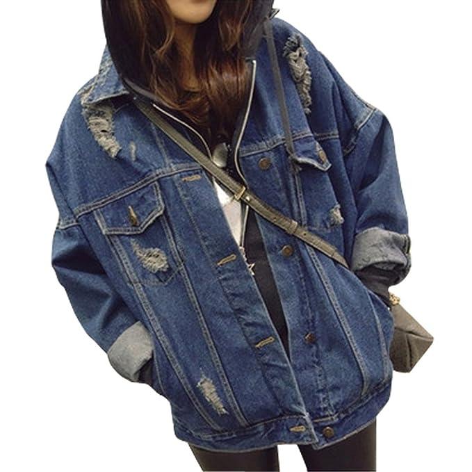 Dasior Women's Casual Loose Hole Lapel Denim Jacket Coat