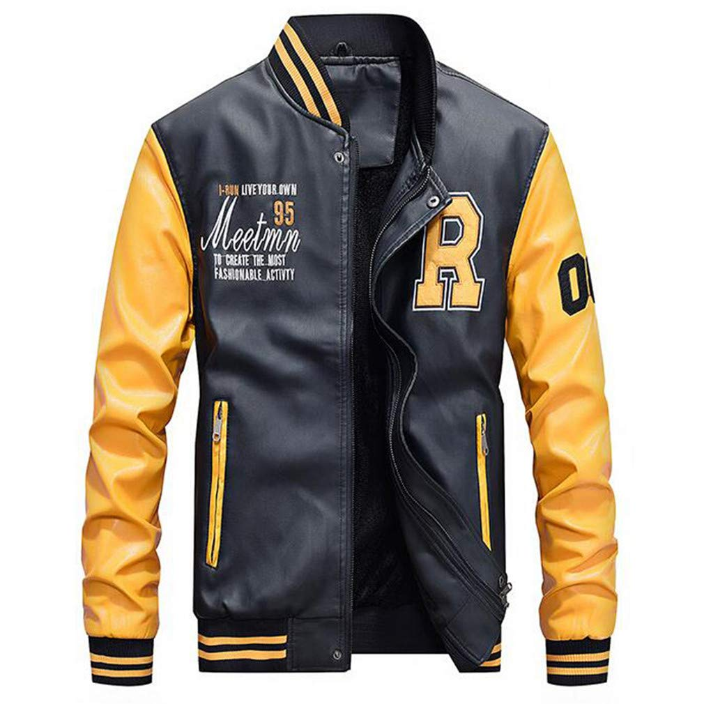Leather Jacket Men Moto Biker Bomber Jackets at Amazon Mens ...