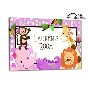 Hand Made Personalised Name Sign Bedroom Kids Baby Plague in Jungle Theme