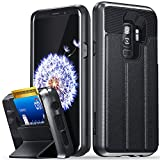 Vena Galaxy S9 Plus Wallet Case, [vCommute][Military Grade Drop Protection] Flip Leather Cover Card Slot Holder with KickStand for Samsung Galaxy S9+ Plus (Space Gray/Black)