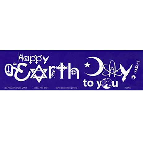 Happy earth day symbolglyphs large bumper sticker