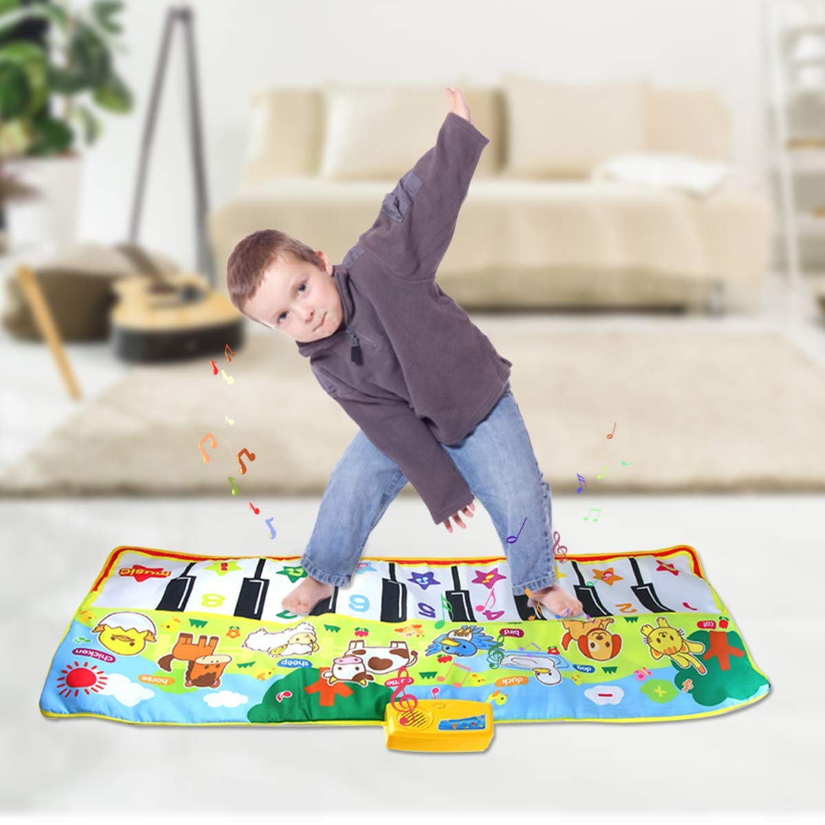 Joyfia Piano Mat, 53.2'' Electronic Music Piano Keyboard Carpet Animal Blanket Touch Dance Play Mat Toys, Baby Early Education Gifts for Kids Toddler Infant Boys Girls by Joyfia (Image #6)