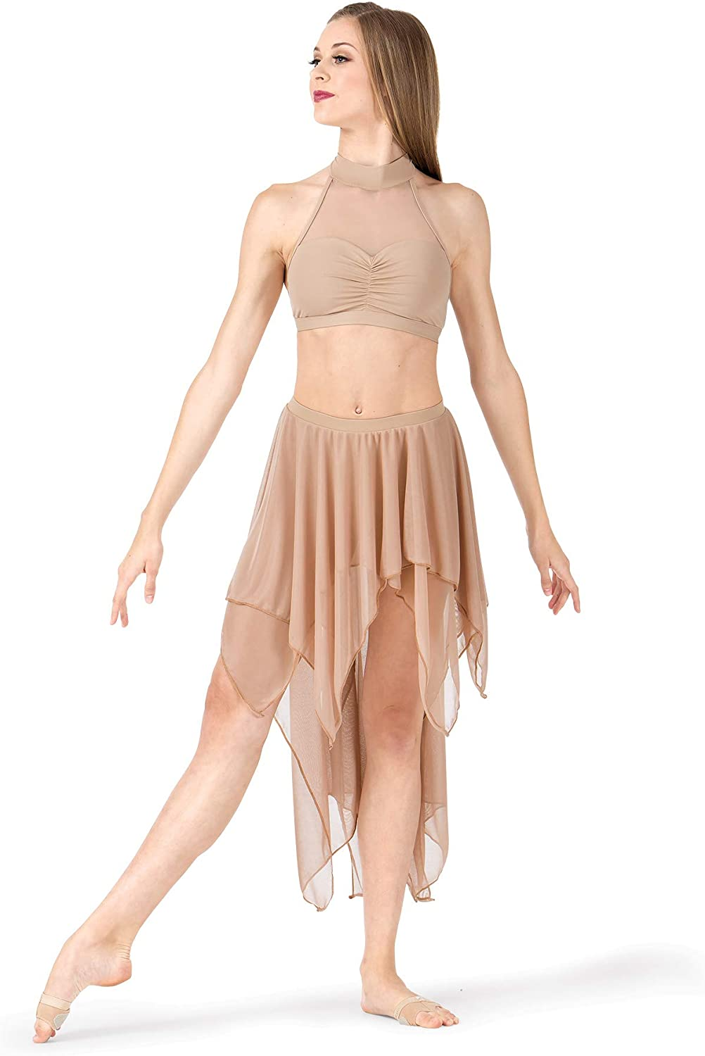 Body Wrappers Adult Double Layer High-Low Dance Skirt BW9115