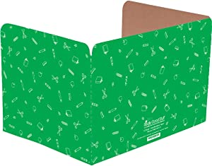 Really Good Stuff Standard Privacy Shields for Student Desks – Set of 12 - Matte - Study Carrel Reduces Distractions - Keep Eyes from Wandering During Tests, Green with School Supplies Pattern