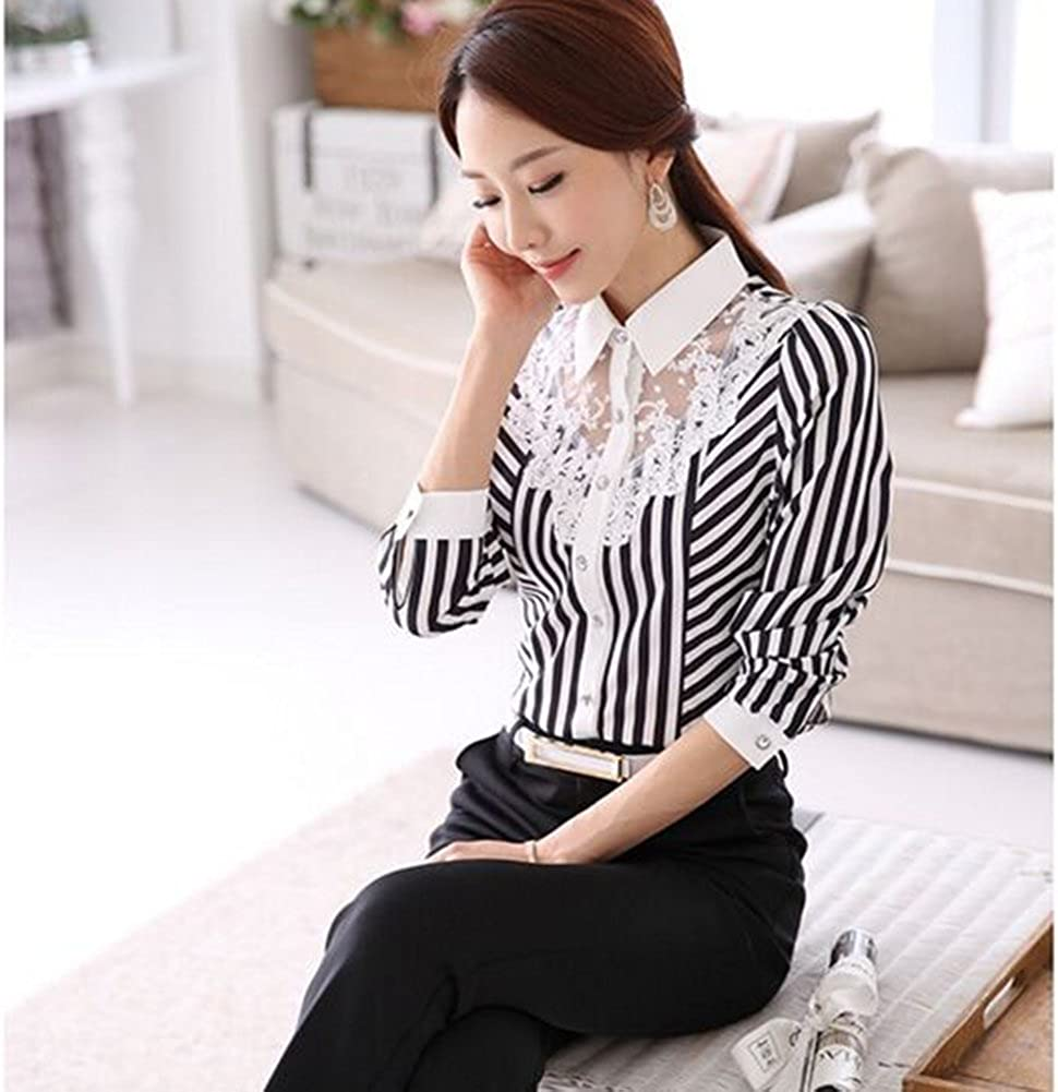 EFINNY Women Floral Lace Long Sleeve Striped Shirts OL Workwear V Neck Blouses Tops Plus Size