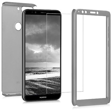 kwmobile Funda para Huawei Y7 (2018)/Y7 Prime (2018) - Carcasa Protectora Completa con [Cristal Templado] - Cover con Protector de Pantalla [Duro]
