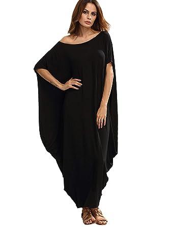 5cea550e1b0 Verdusa Women s One Off Shoulder Caftan Sleeve Harem Maxi Dress Black XS